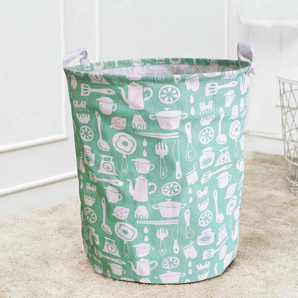 Dirty Clothes Storage Basket Folding Waterproof Clothe Laundry Cotton Linen Kids Toy Sundries