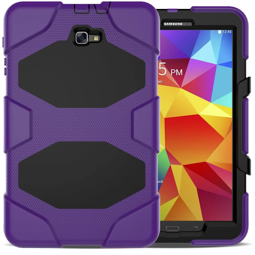 Amor Heavy Duty Case For Samsung Galaxy Tab A A6 10.1 2016 T585 T580 Tablet Case GLF Soft Silicone +PC Back Cover Kickstand Case