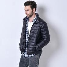 3XL плюс размер Продвижение скидка 90% белая утка вниз 2016 зима новый мужской легкий пуховик сплошной цвет вниз пальто w826