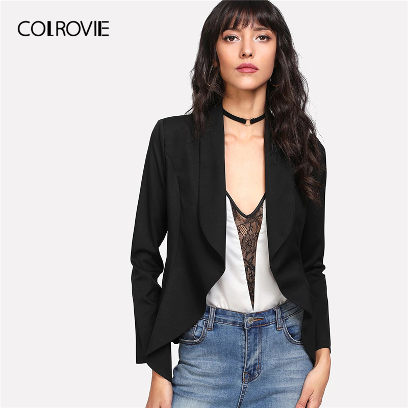 COLROVIE Black Solid Shawl Collar Open Front Office Blazer Women Clothing 2019 Spring Elegant Ladies Coat Outerwear Casual Coats