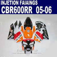 100%fit kits ,CBR600RR Fairings 2005 2006 REPSOL oRANGE cbr 600rr 05 06 Fairing kit For Honda l42