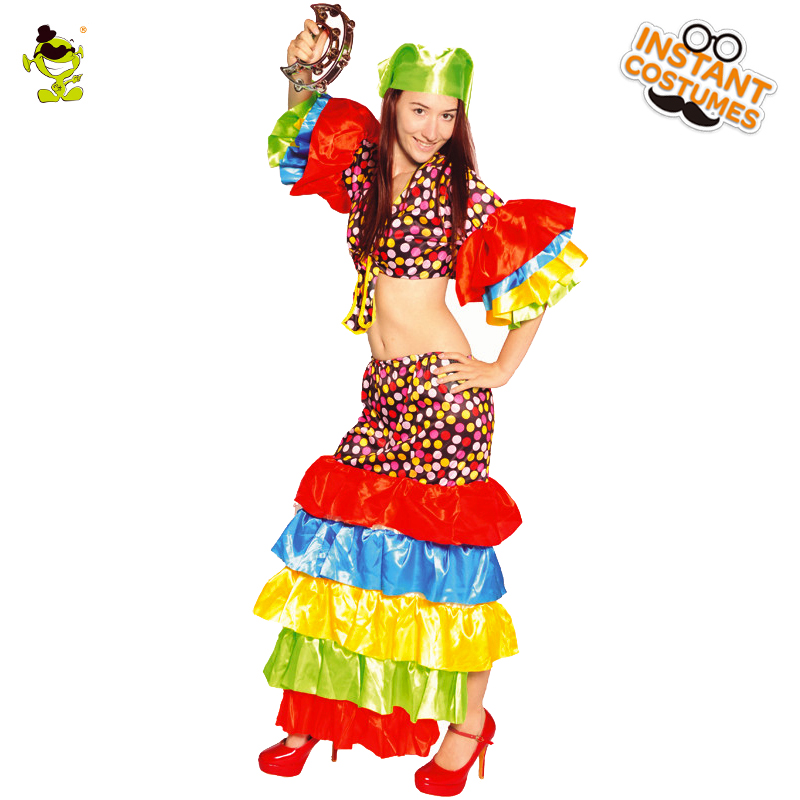 Adults Deluxe Rumba Costume Cuban Caribbean Turban Tropical Fancy Dress Costumes