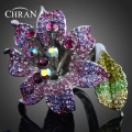 Chran New Imitation Diamond Vintage Big Flower Cocktail Rings For Women Gifts Promotion Rhinestone Crystal Gold Plated Jewelry