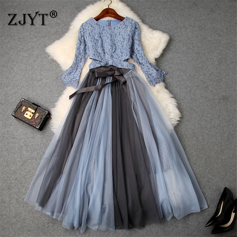Fashion Designer Women Party 2piece Outfits 2019 Spring Summer Flare Sleeves Crop Lace Top Color Block