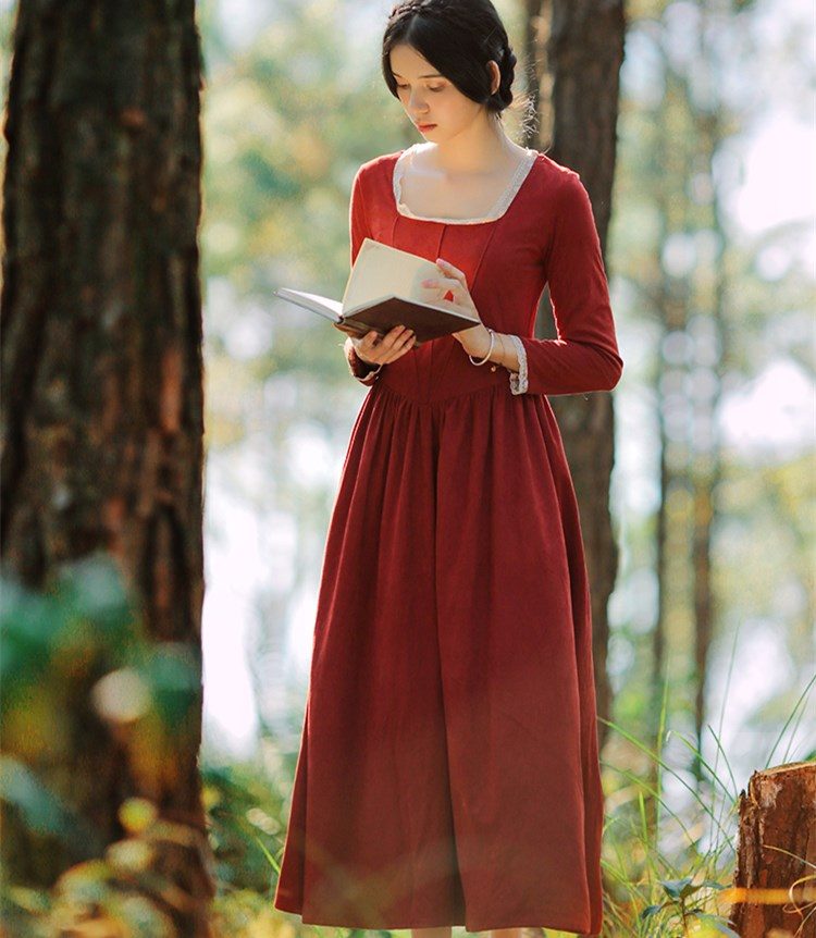 Autumn Winter Women Vintage Orange Red Suede Long Dress Ladies Palace Style Square Collar Long Sleeve