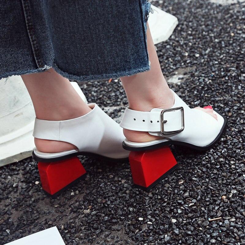 Sandalias de Mujer Zapatos de tacón alto zapatos de plataforma de cuero genuino de verano correa de tobillo de Punta abierta chica zapatos casuales Sandalias Mujer-in Sandalias de mujer from zapatos    3