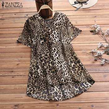 ZANZEA Women Sexy Leopard Print Blouse 2020 Summer Casual Short Sleeve Shirt High Low Blusas Ladies Loose Tunic Tops Plus Size men lion print high low blouse