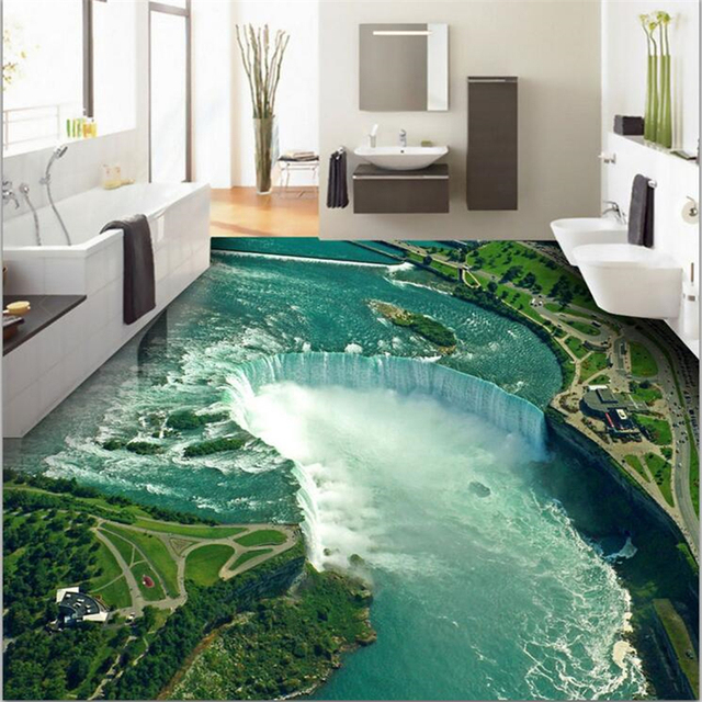beibehang Custom floor painting 3d photo decoration to draw high-definition water production waterfall 3D floor papel de parede