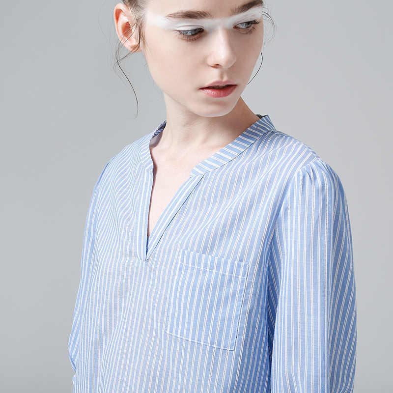 Toyouth Baru Bergaris Vertikal Wanita Atasan dan Blus Musim Panas Setengah Lengan V-neck Kemeja Wanita Slim Tipis Biru Blus Kasual Camisa
