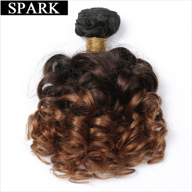 "Spark Bouncy Curly Hair 3 Tone Ombre Brazilian Hair Weave Bundles 12-26"" T1B/4/30 Remy Human Hair Extensions Auburn Hair Weaving"