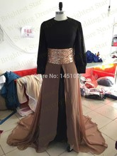 Real Image O-Neck Beaded Sash Long Sleeve Black And Brown Arabic Evening dress 2015 jilbabs and abaya islamic clothing for women