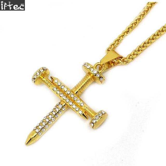 Nail Gold Cross Necklace Jesus Christ Pendants Gold Color Blingbling ...