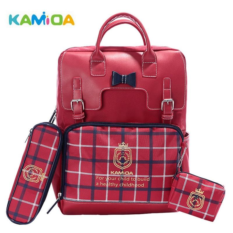 Kamida European Plaid Schoolbags Primary School Girls Boys Kids School Bag Reduce Burden Protect the Spine Children Backpacks spine 75мм kids