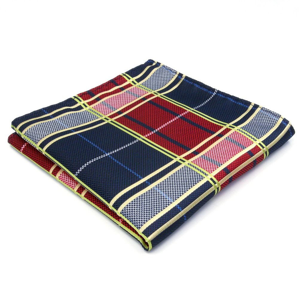 Red Blue Mens Pocket Square Checked Handkerchief Hanky