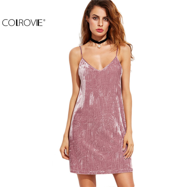 Spaghetti Strap Dress Sexy Bodycon Dress Clubwear Pink Velvet