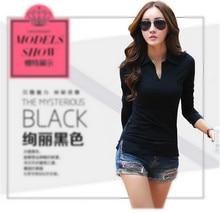 black polo shirt white polos shirts femme plain women polo long sleeve polos manga larga chemise femme Camisetas Mujer