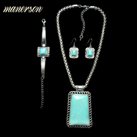Manerson Long Statement Necklace Trapezoid Pendant Vintage Collier Maxi Necklace With  Earrings And Bracelets