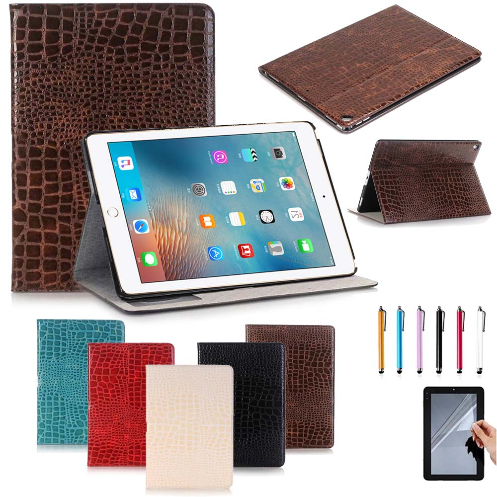 Luxury Crocodile pattern Leather Case For Apple iPad pro 12.9 inch 2017 Release Solid Flip Stand magnetic Cover Shell Skin luxury cross pattern book cover card slot folio stand pu leather magnetic smart sleep case for apple ipad pro 12 9 inch tablet