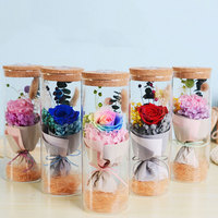 Floral Decor Preserved Fresh Flower Ornamental Beautiful Rose Glass Cover LED Gift Mother'S Day Caller