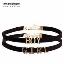 Fashion Punk Style Choker Necklace Set Black Ribbon Metal Letter Anime Pendant Overwatch For Women Girls Jewelry Necklace