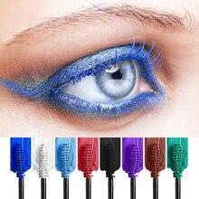 8c28ec827b57d 9 اللون الأزرق الماسكارا للماء الشباك إطالة الرموش ماكياج الملونة الصباغ  المبالغة الأسود عيون المكياج ماسكارا
