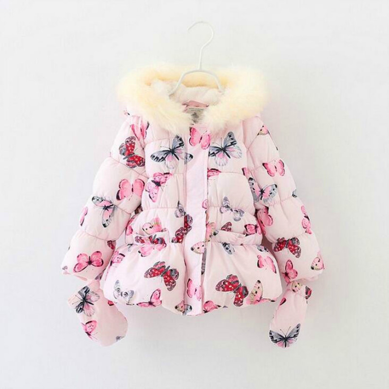 Fancy Girls Winter Coat with <font><b>Gloves</b></font> Butterfly Hooded Zipper Fleeced Baby Girl Winter Jacket 2015 brand High Quality Clothes