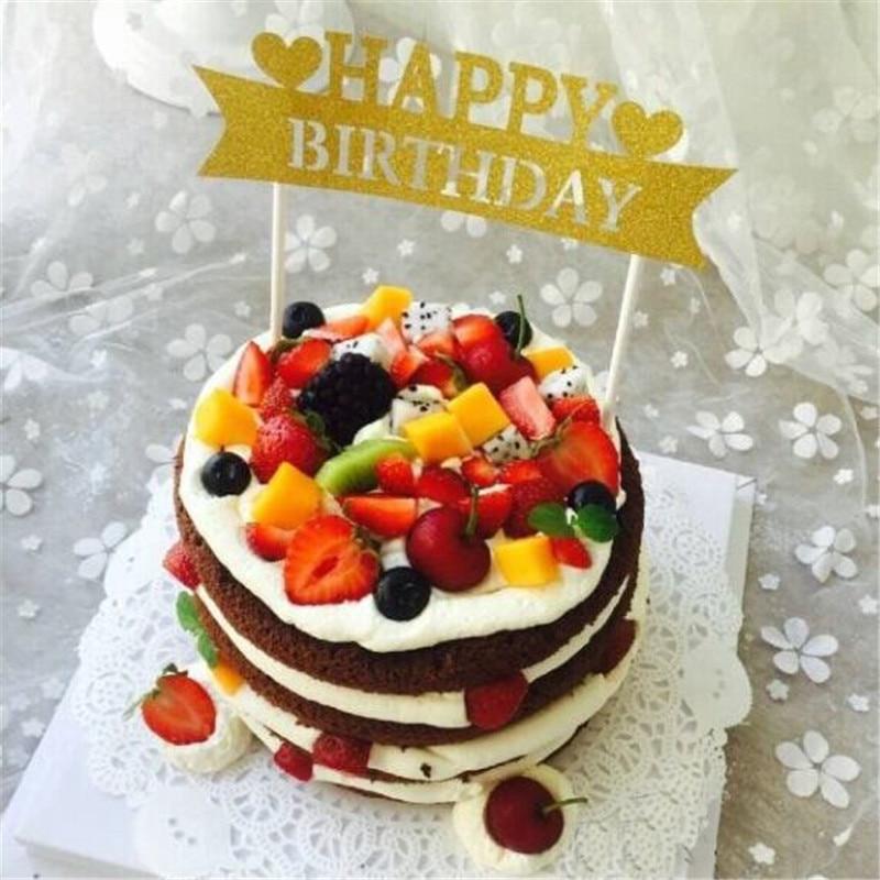 10 STUCKE Happy Birthday Cake Topper Herz Geburtstag Kuchen Picks Flagge Dekoration Kinder Baby Shower Party Supplies 1410 Cm In