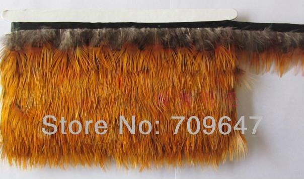 New!Wholesale!10Yards/Lot Height 4-6cm Golden Pheasant Yellow Back Feathers Trim Fringe freeshipping
