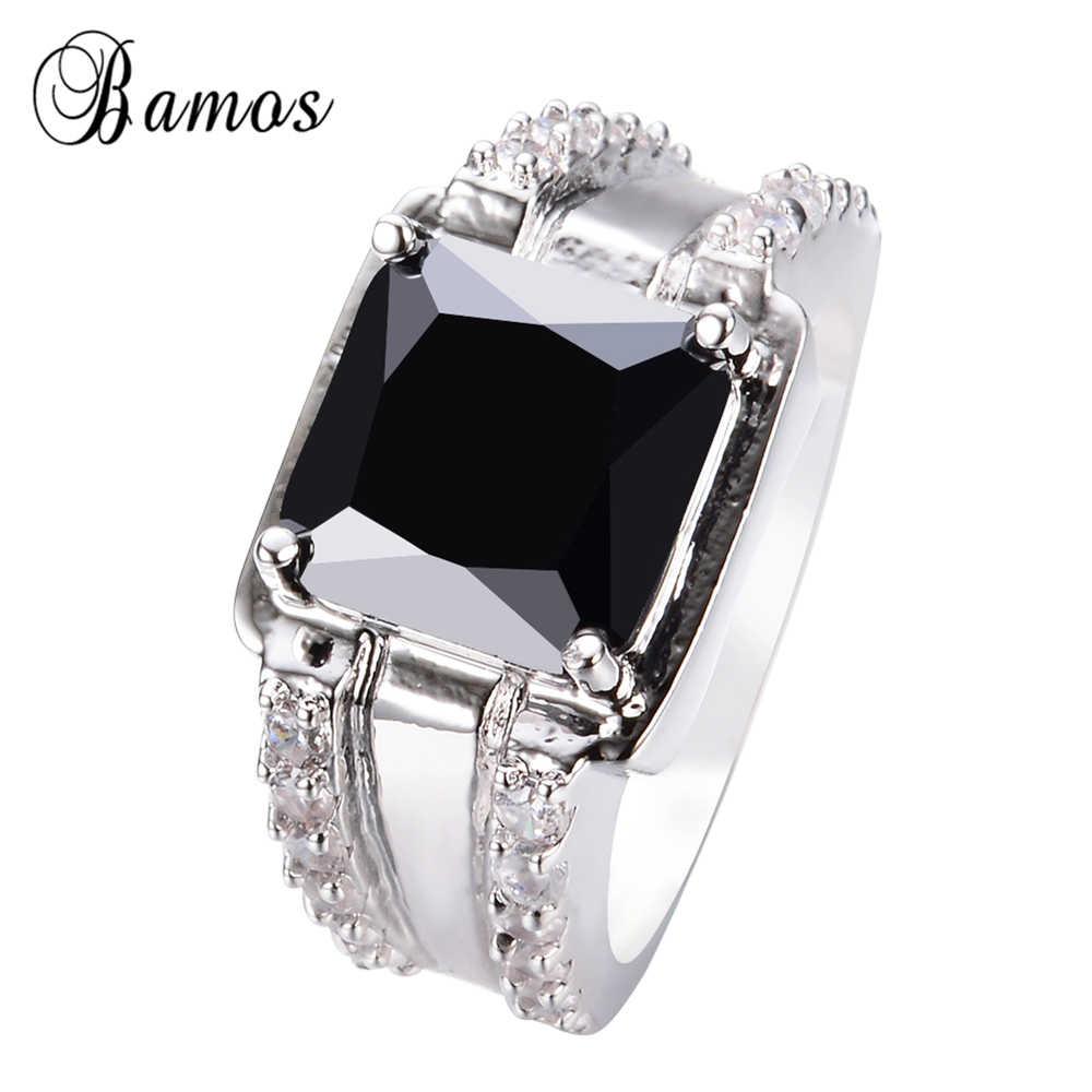 Bamosแฟชั่นชายเรขาคณิตสีดำแหวน925เงินเต็มเครื่องประดับแหวนแต่งงานวินเทจสำหรับผู้ชายหินเกิดของขวัญ