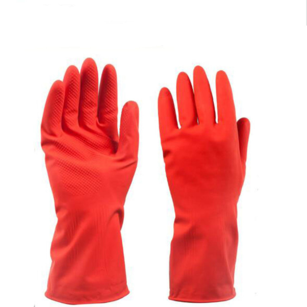 Household Rubber Gloves Solid Color Red Ultra Thin Short