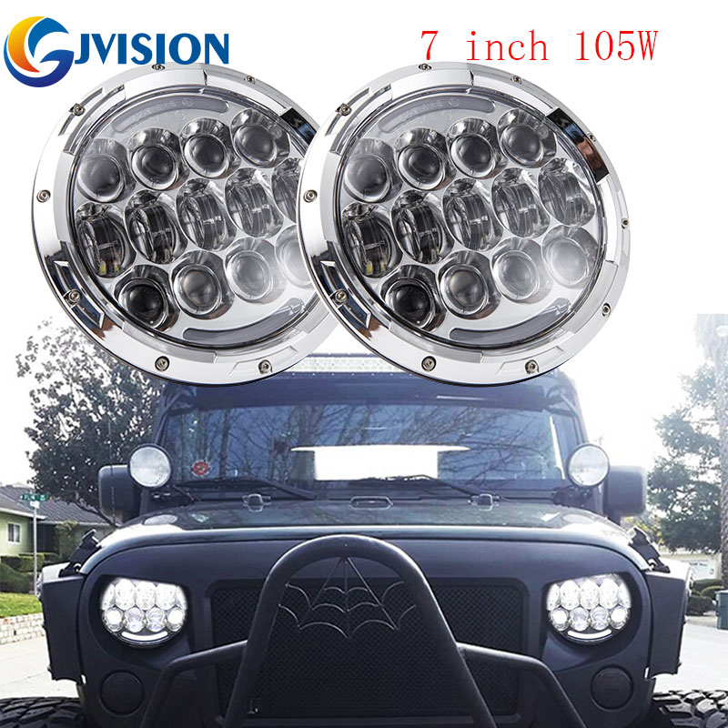 For Jeep Wrangler Accessories 7inch Round 105W LED Headlight DRL LED Projector headlights for Car 4x4 Offroad led lamp Silver s1000rr turn led lights