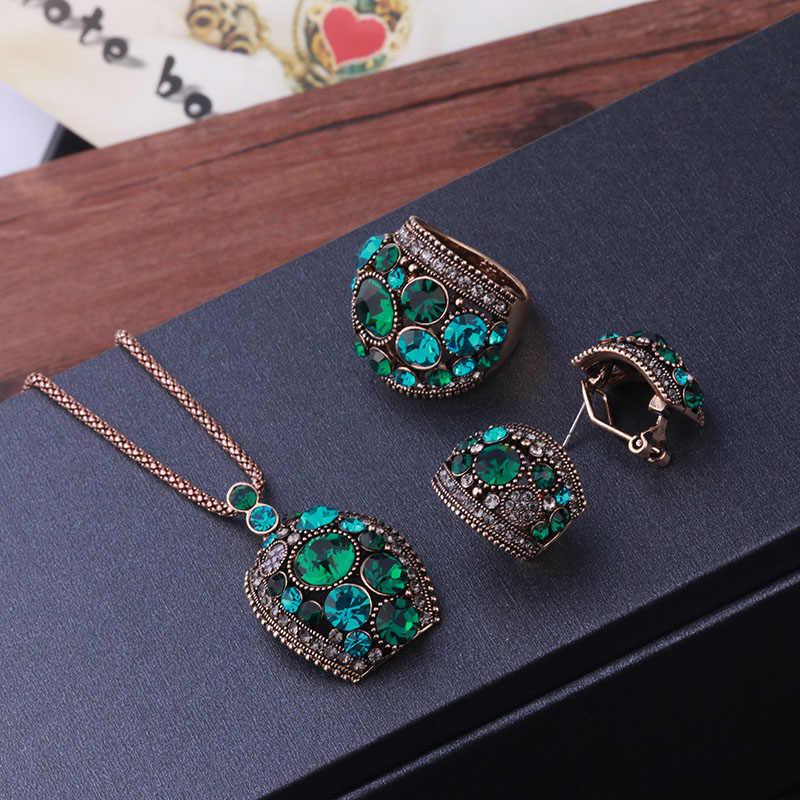 Sellsets Gioielli In Oro Antico/Argento di Colore Set di Gioielli Vintage Collana di Cristallo Verde Orecchini con perno E Anello Set Per Le Donne