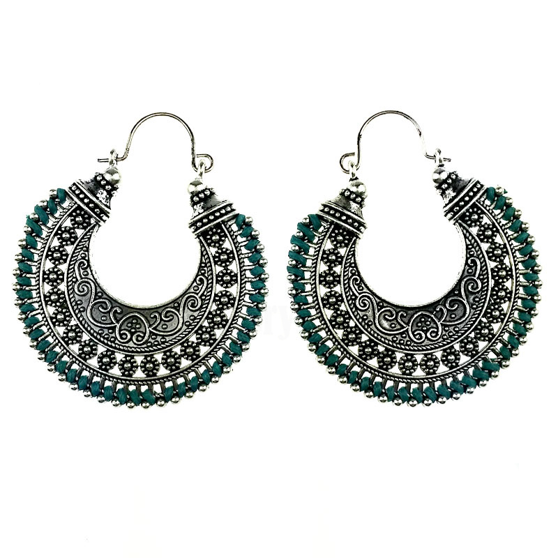 Tribal Antik Warna Silver Hand Made Warna String Jalinan Hoop Earrings Perhiasan Untuk Wanita