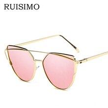 Fashion ladies Sunglasses For Women Glasses Cat Eye Sun Glasses Male Mirror Sunglasses Men Glasses Female Vintage Gold Glasses