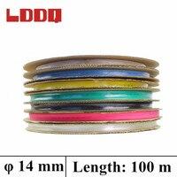 LDDQ 100m Heatshrink 14mm Shrinkable Tubing In Rolls 7colors Available Insulation Sleeving PE Material Environmental Friendly