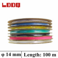 LDDQ 100m Heatshrink 14mm Shrinkable Tubing In Rolls 7colors Available Insulation Sleeving PE Material Environmental Friendly