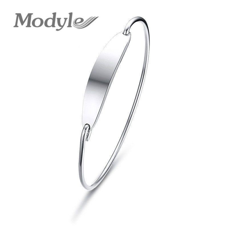 Modyle 2018 New Fashion Stainless Steel Simple Women's Bar Cuff Bracelet Bangle Love Sisters Best Friends pulseira Gifts