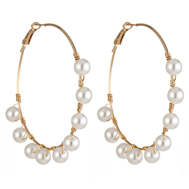 New Boho White Imitation Pearl Round Circle Hoop Earrings Women Gold Color Big Earings Korean Jewelry