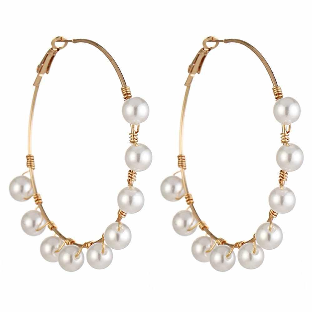 Novo boho branco imitação pérola círculo redondo hoop brincos feminino cor do ouro grandes brincos coreano jóias brincos brincos de declaração