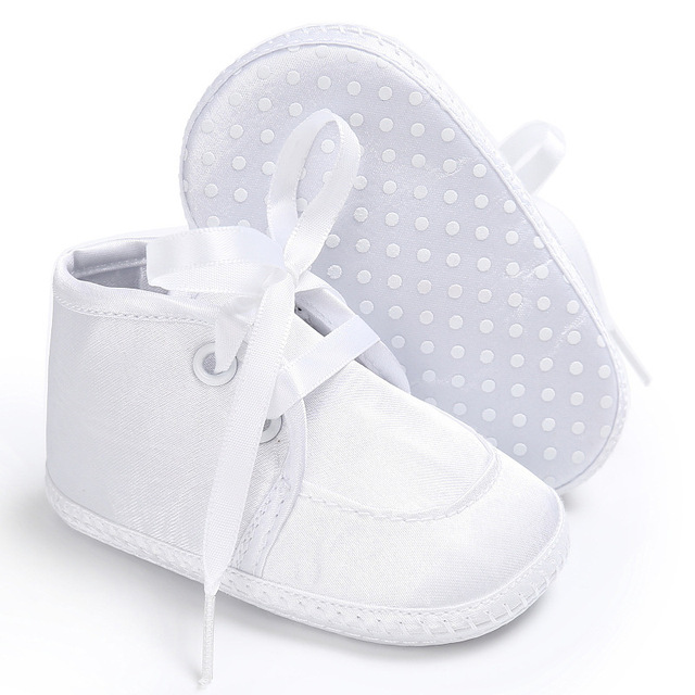 New Arrival Pure Color Lace up Satin Baby white Baptism Christening Crib  Shoes Soft Sole Infant 5f6d19676082