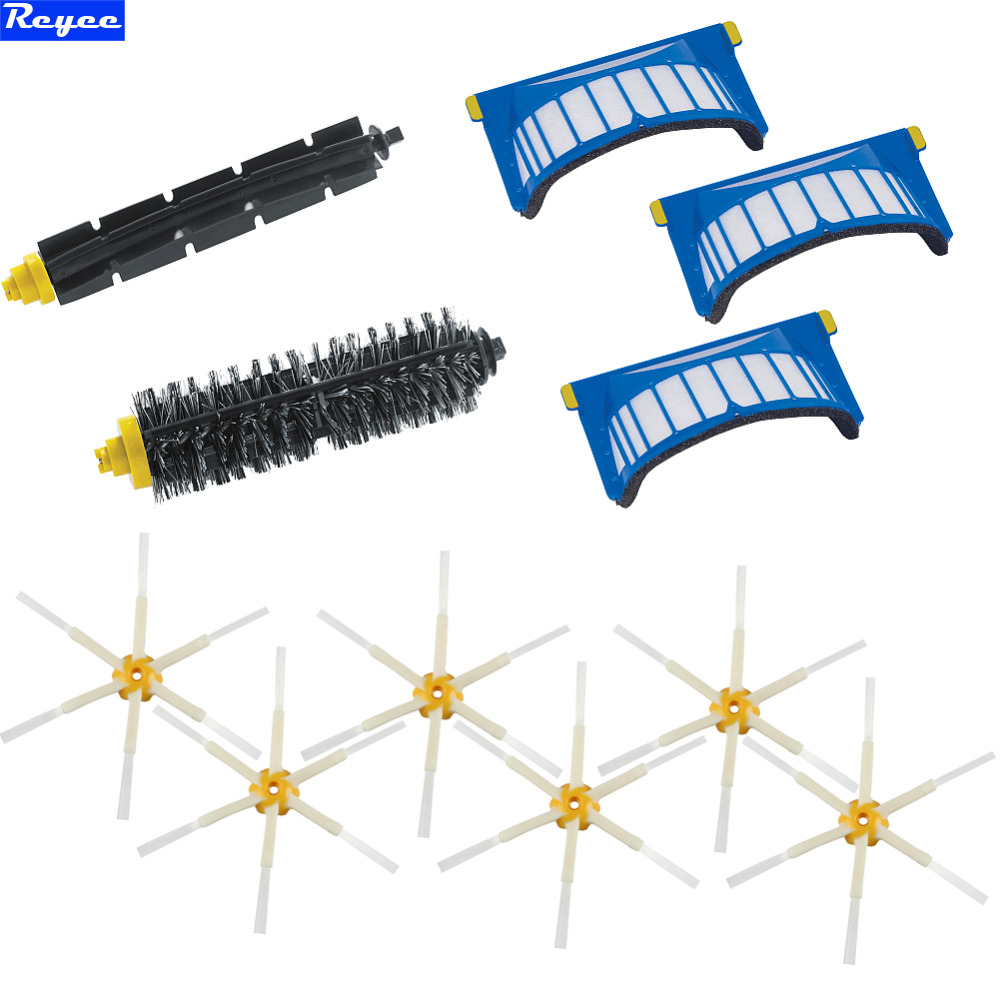 Flexible Beater Brush Aero Vac Plastic Filter 6 Arms Sidebrush kit for iRobot Roomba 600 Series 620 630 650 660 Free Shipping aero vac filter bristle brush flexible beater brush 3 armed side brush tool for irobot roomba 600 series 620 630 650 660