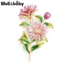 Wuli&baby Pink Daisy Bouquet Enamel Brooches Metal Flowers Weddings Banquet Brooch Pins For Women And Men