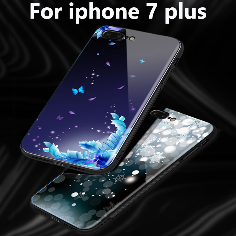 2pcs For iphone 7 plus case Tempered glass back cover For iphone7 plus case For iphone 7plus phone Cases iphone7plus fundas skin
