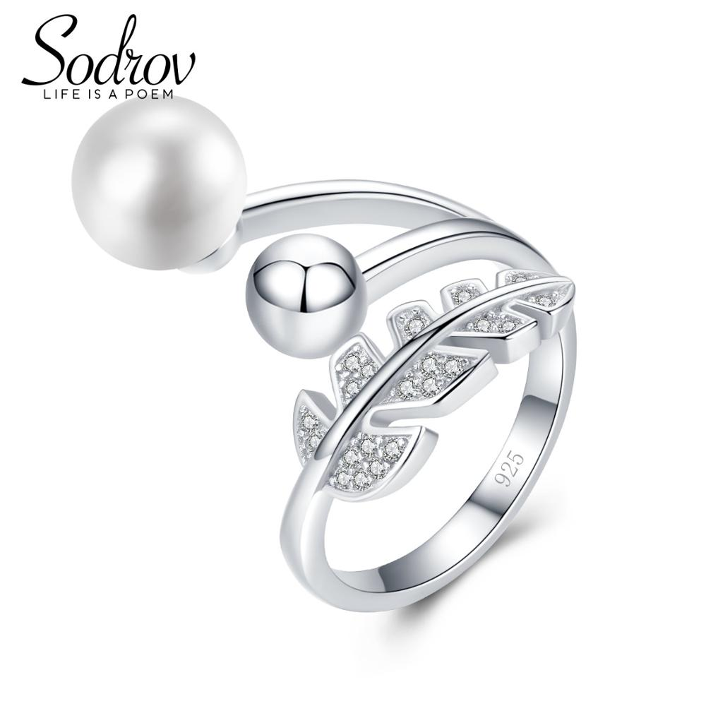 SODROV Pearl Ring Genuine 925 Sterling Silver Open Engagement Leaf Rings For Women HR034
