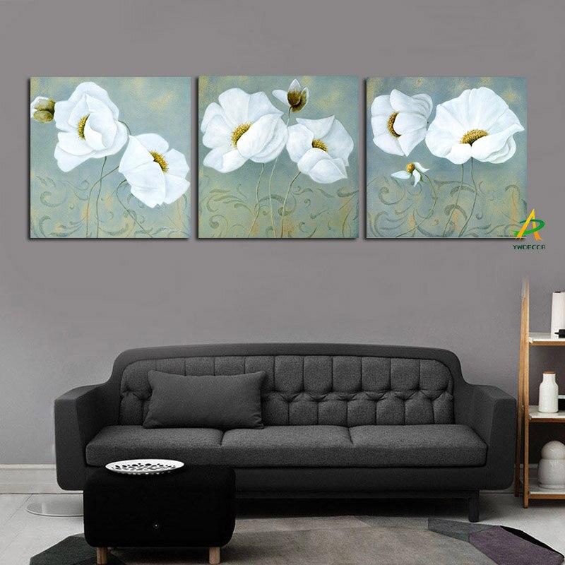 3Panel Abstract Pastoral Garden White Poppy Painting HD Tisk na plátně Minimalistický plakát Wall Pop Art Art pro Obývací pokoj