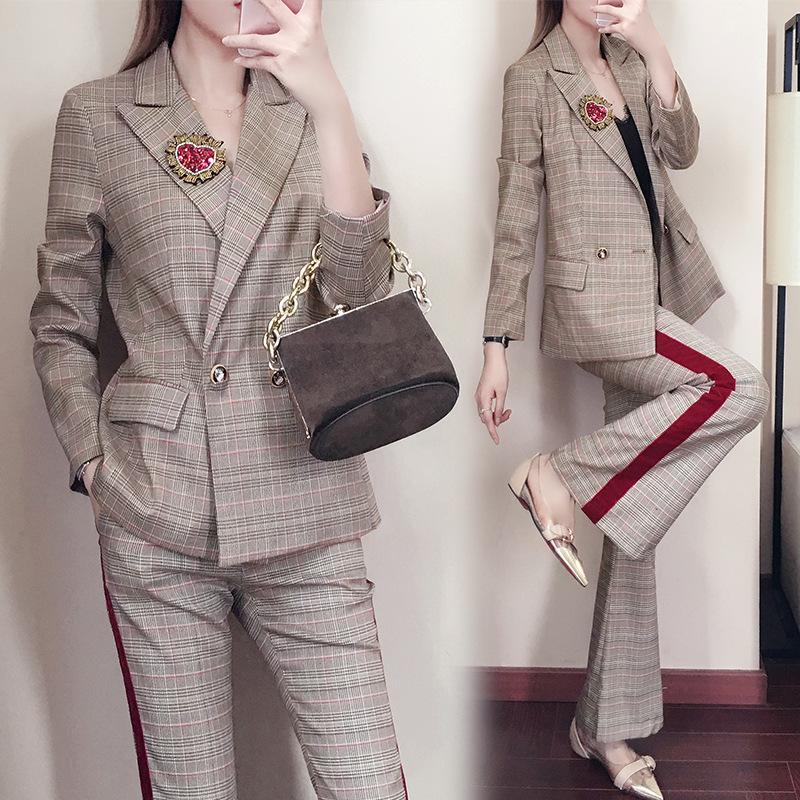 Women Clothes Autumn Plaid Female New Korean Fashion Temperament Small Suit Wide Leg Pants Women Suit Two-piece Set