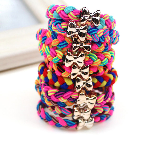 5Pcs Elastic Bands Colorful Braided Ultra Stretch Hair Ties Scrunchy Hair  Elastic Hairbands Bowknot Headbands Hair Accessories 5f6968a4d8d