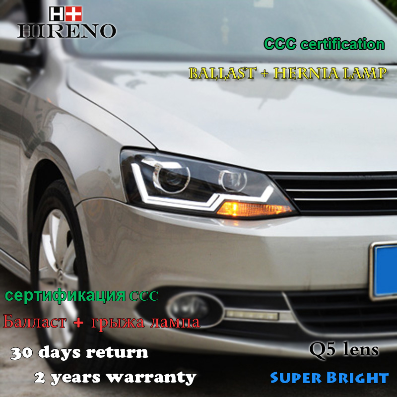 Hireno Car styling Headlamp for 2012-2016 Volkswagen Jetta Headlight Assembly LED DRL Angel Lens Double Beam HID Xenon 2pcs hireno car styling headlamp for 2003 2007 honda accord headlight assembly led drl angel lens double beam hid xenon 2pcs