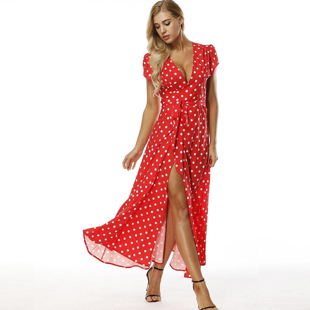 Bohoartist Red Polka Dot Dress Sexy Split Shrug Short Sleeve Wrap Dresses Lace Up Print Vintage Long Dress Maxi Women Robe Femme