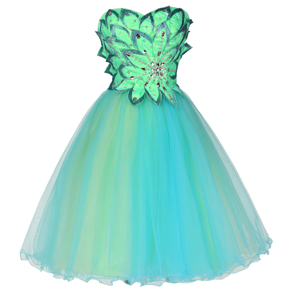 Green Cocktail Dresses Tulle Dress Knee Length Homecoming Party ...